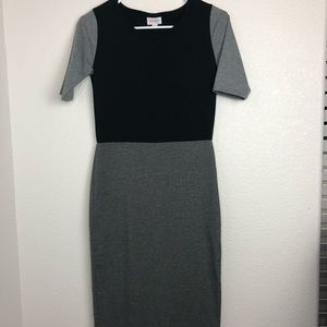 Lularoe Black Gray Bodycon Dress Julia